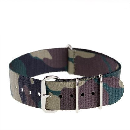 CAMO WATCH STRAP  $20.00 item 81107  18 mm NATO ballistic military watch band strap. Features stainless-steel hardware and water resistant polyester. Compatible with Timex® military watch, Timex vintage field army watch and Timex Andros watch.  Poly.  Import.