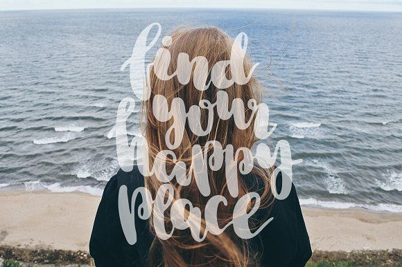 Find your happy place. Lettering and clipart set #creativemarket