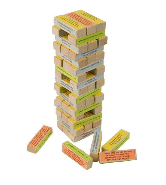 Classroom Jenga: Put most importants unit concepts on each tile. Student pulls it out, has to explain it. Knocks out a bunch, has to answer them all! Cannot wait to try this!