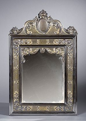 A royal damasked steel and partly gilt mirror presented to Duchess de Osuna by King Carlos III of Spain, Madrid, 1782.