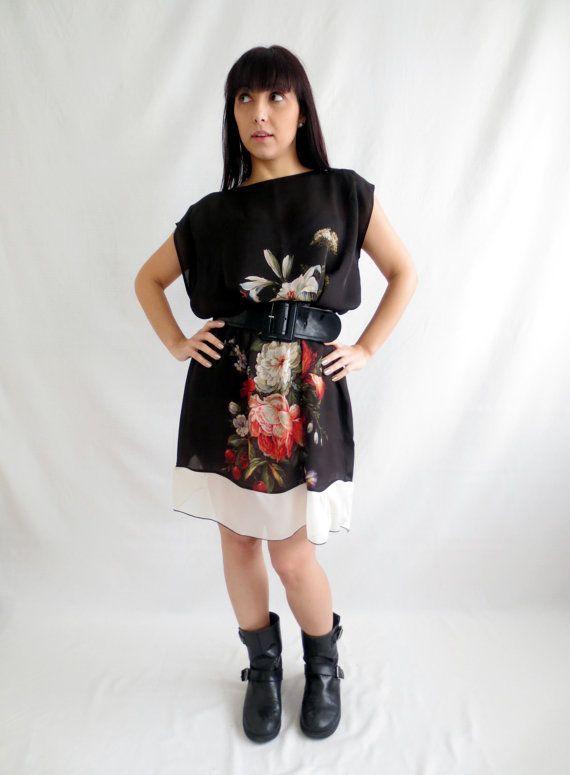 Black tunic dress silk tunic silk dress silk blouse by AliceCloset € 82,00