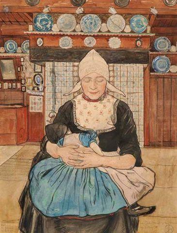 J.H. de Roos ( 1877 - 1962 ), potlood, houtskool en aquarel, 41,5 x 31,8 cm, ges. VERKOCHT