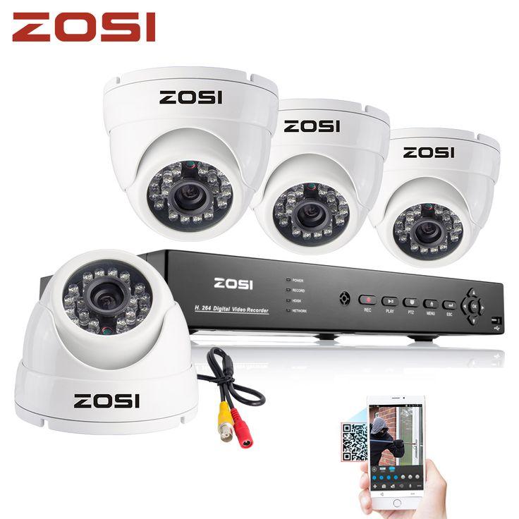ZOSI 8CH CCTV System 960H DVR 4PCS 1000TVL IR Weatherproof Outdoor White Dome Camera Home Security System Surveillance Kits