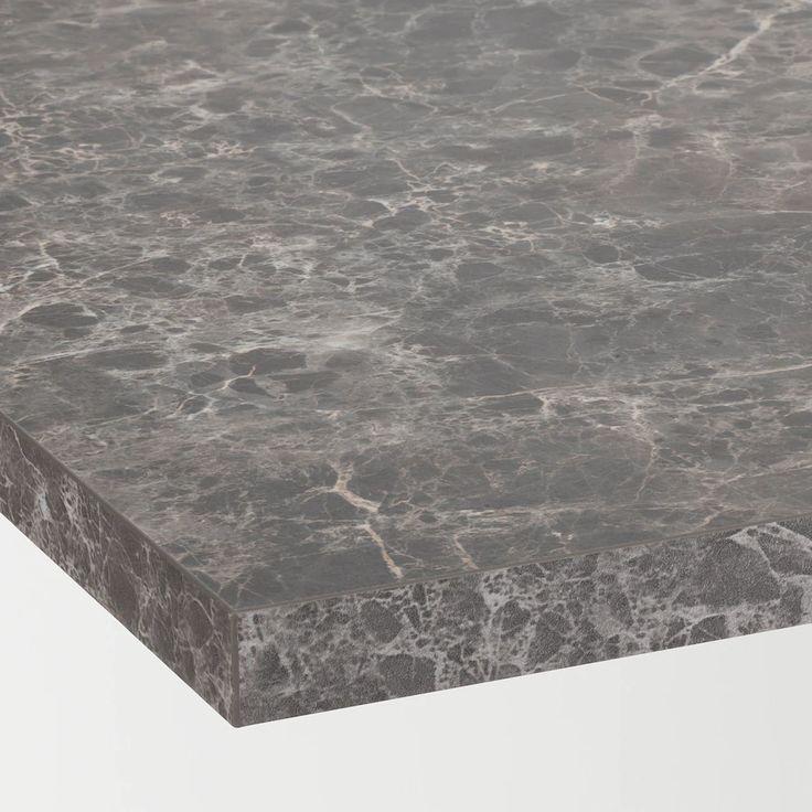EKBACKEN Countertop, dark gray marble effect, laminate