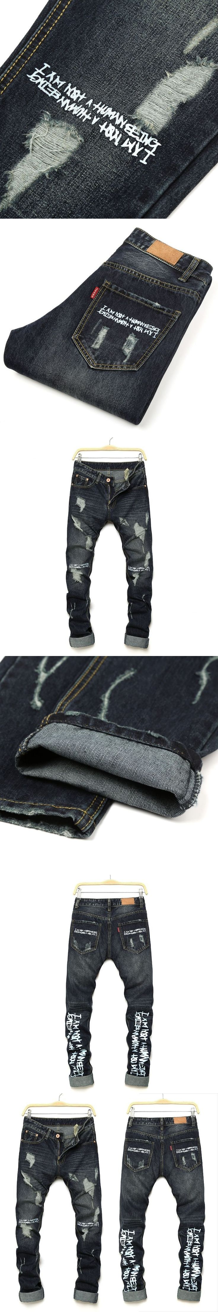Men's Straight Streetwear Slim Denim Trousers Mens Hole Hip Hop Personalized Letter Printing Ripped Jeans Pants For Men