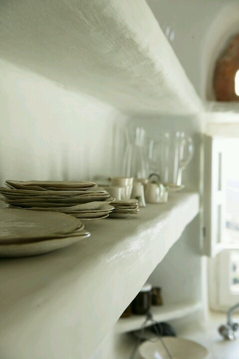 open #kitchen #white #shelves