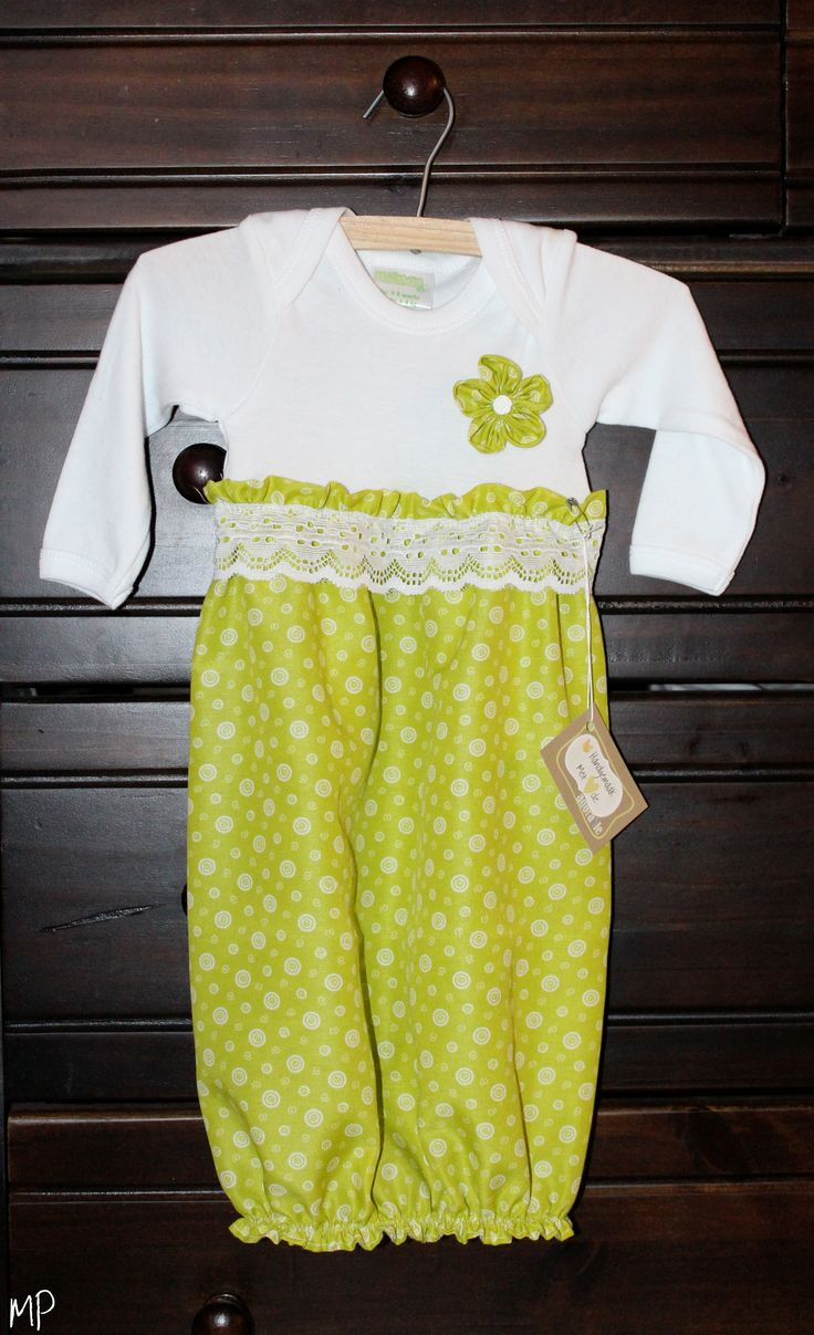 Baby Girl Layette Gown - green and white (with onesie top half)
