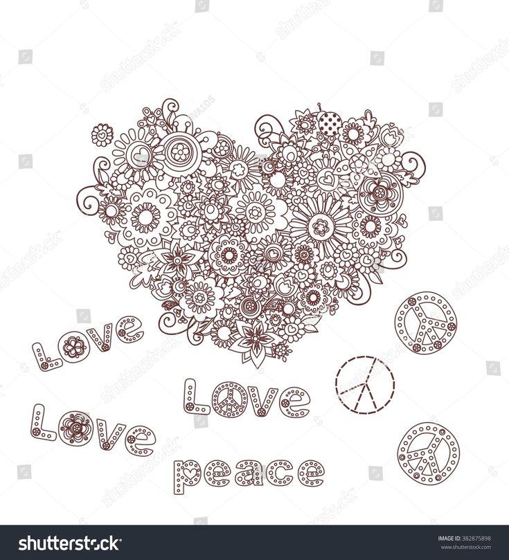 Hippie heart silhouette