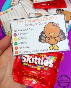 Looking for a fun Gratitude Game for Thanksgiving? This Skittles Thankful Games is a huge hit with the kids. FREE Printable Game Cards included.