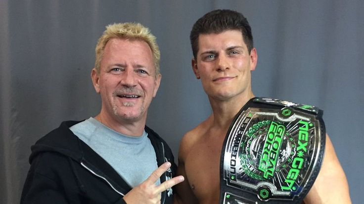 Cody Rhodes wins the Global Force Wrestling NXT GEN Championship. He shares a moment with founder Jeff Jarrett.