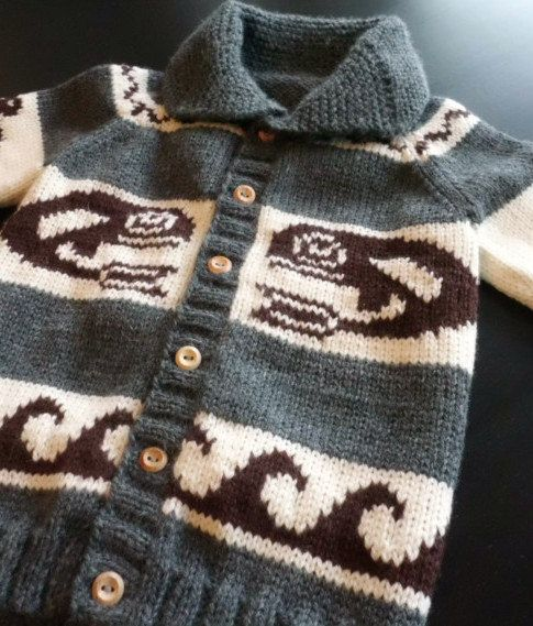 Children's Sweater, Pure Wool Cowichan Style, Custom Made, Whale Motif 3 -5 years