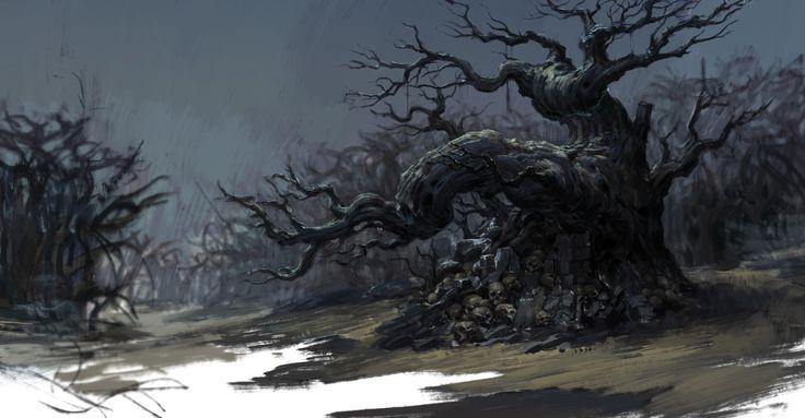 The evil spirit possessed scene concept, minghao sun on ArtStation at https://www.artstation.com/artwork/the-evil-spirit-possessed-scene-concept