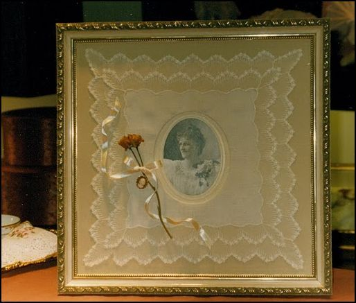 What Can You Do With Vintage Handkerchiefs: frame an antique or family photo.