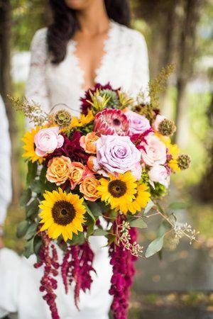 Jacqueline's October sunflower bouquet, hanging amaranthus, succulents, garden roses, scabiosa