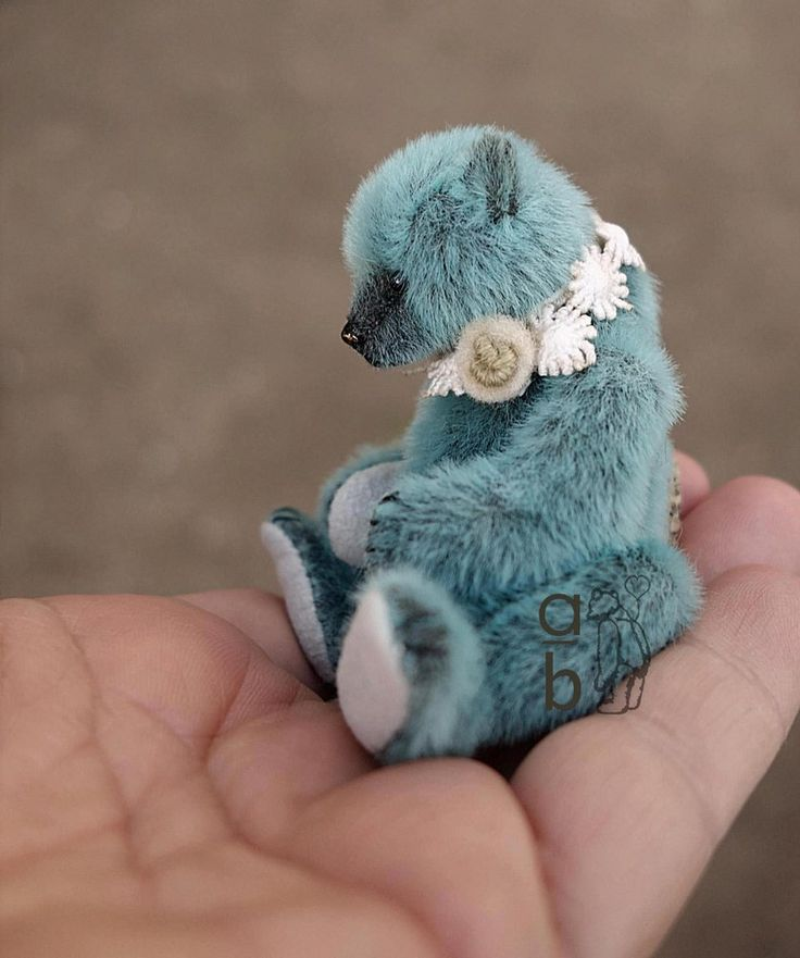 Image of Zalie, Turquoise Mini Miniature Artist Teddy Bear by Aerlinn Bears
