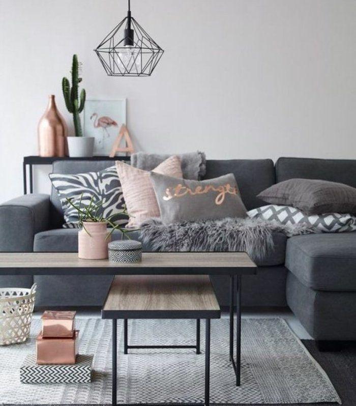 quelle peinture choisir pour son salon, mur grise, canapé gris foncé, suspension…