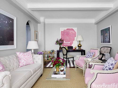 A Small, Bold, and Stylish Apartment in New York City. Pink Living Rooms Living SpacesLiving Room ... - Home :: Family Rooms: A Collection Of Home Decor Ideas To Try