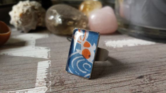 Rectangle ring, japanese kimono style with koi fish