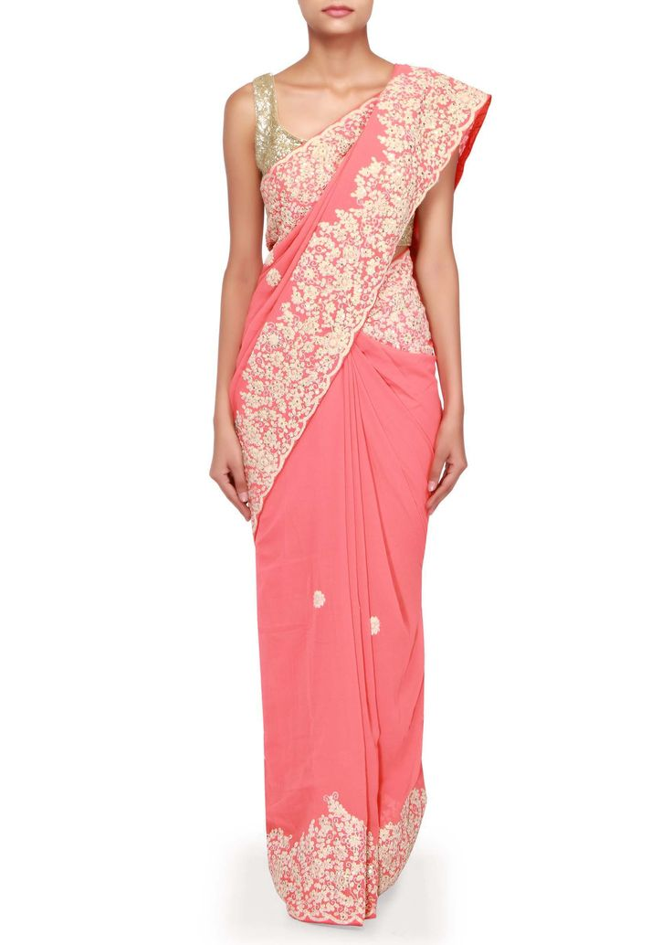 Peach saree adorn in thread and sequin embroidered border only on Kalki - Kalkifashion.com