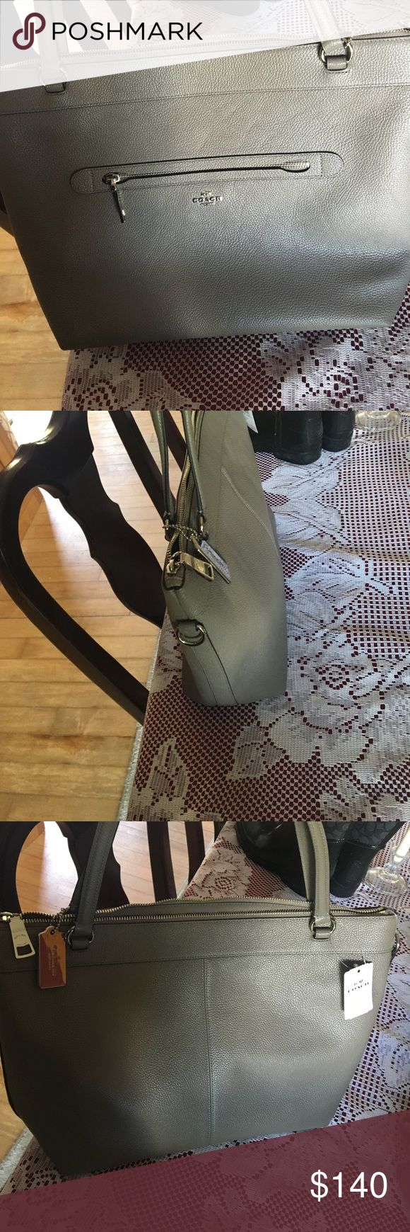Coach shoulder bag or cross body bag! Great cross body/ shoulder bag olive/ tope color Length 13 inches hight 12 inches OFFERS EXCEPTED!! Coach Bags Shoulder Bags