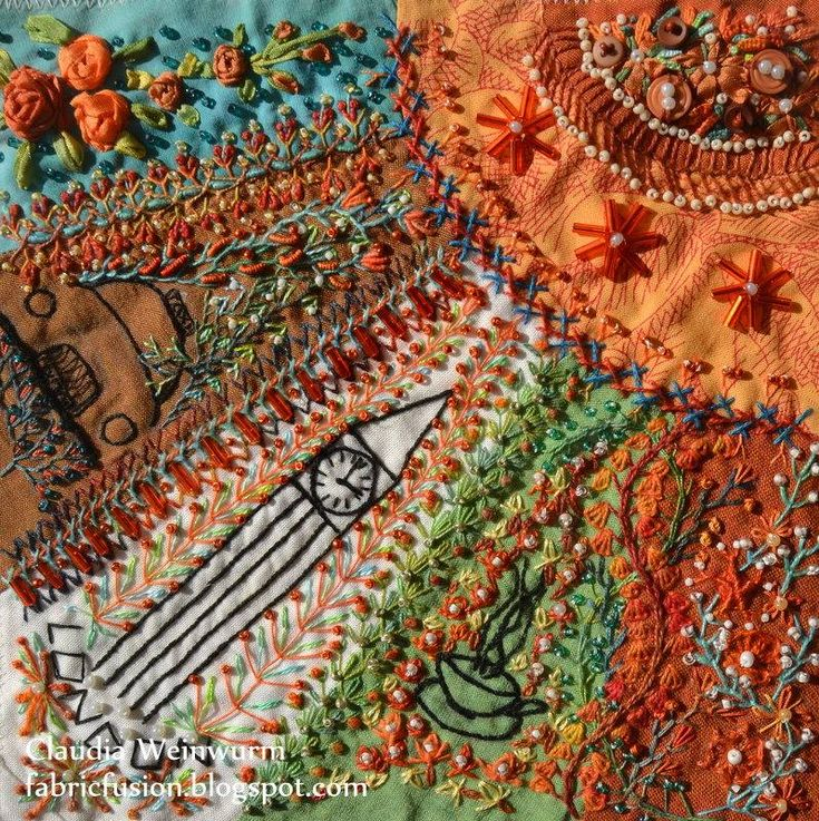 I crazy quilting beading ribbon embroidery my