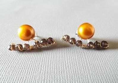 Ear Jackets / Ear Cuff / Smoky Quartz Earrings / by PepperandPomme