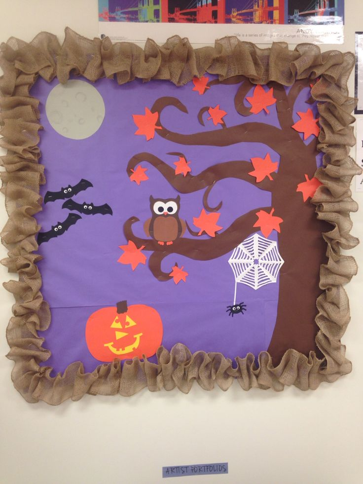 Halloween bulletin board with a burlap border. Will easily be converted to a fall bulletin board after Halloween by removing the jack-o-lantern, bats, and spider web and adding a scarecrow, pumpkin, etc...
