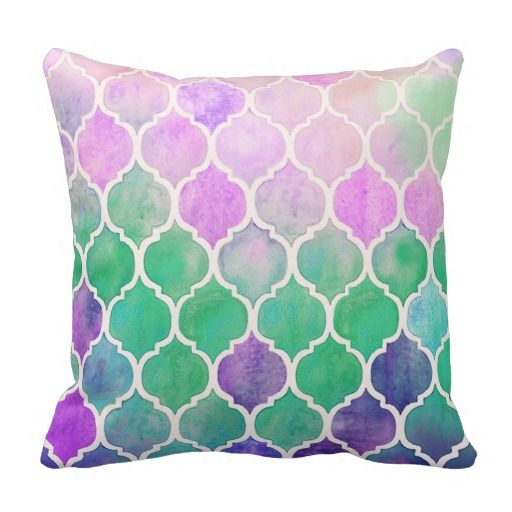 LOVE THIS watercolor pillow that looks like stained glass. Pop of color!