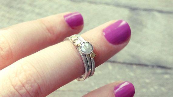 Diamant-Verlobungsring 18Kt roh-Diamant-Ring rose von MisMundos