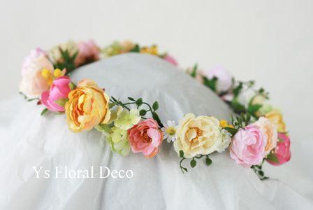 hk00299 黄色のドレスに黄色ピンクの花冠&ブーケ ys floral deco…
