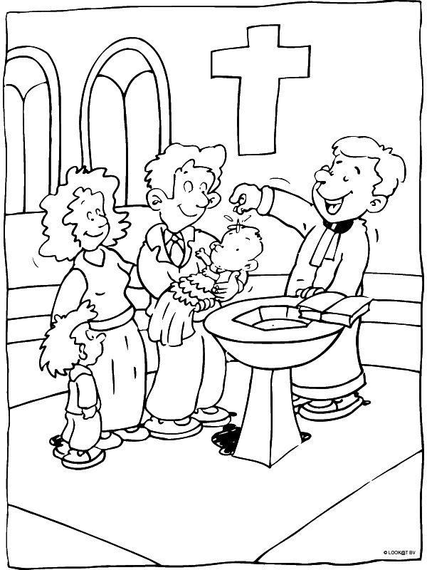 Kleurplaat de doop - Kleurplaten.nl