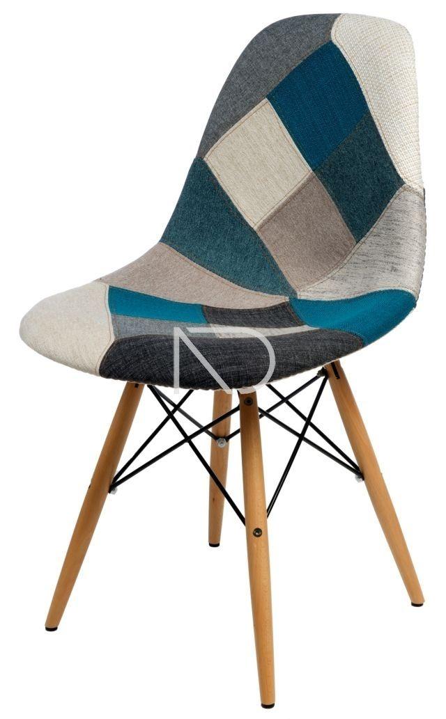 Krzesło PATCHWORK SN - niebiesko-szare - Nordic Decoration Home