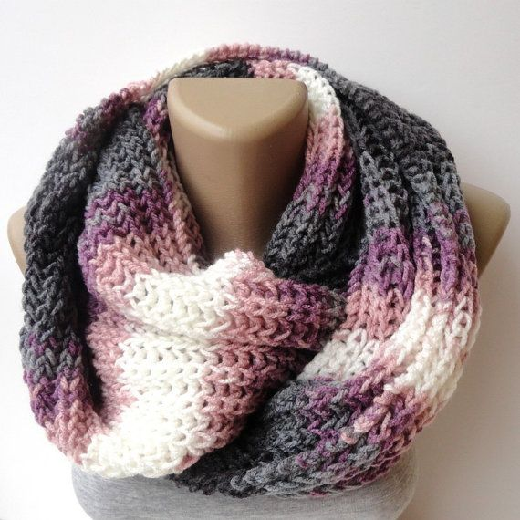 gray pink infinity scarf, knitted scarf, eternity scarf,women scarves, men scarves, winter scarf, cowl
