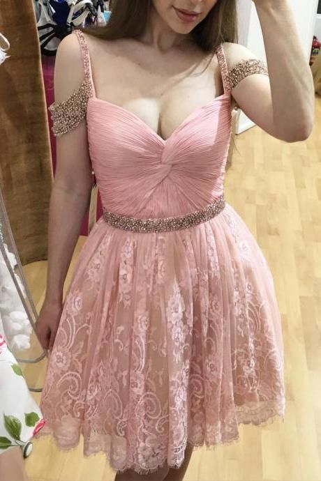 Homecoming Dresses,Lace Homecoming Gowns,Short Prom Gown,Pink Sweet 16 https://bellanblue.com