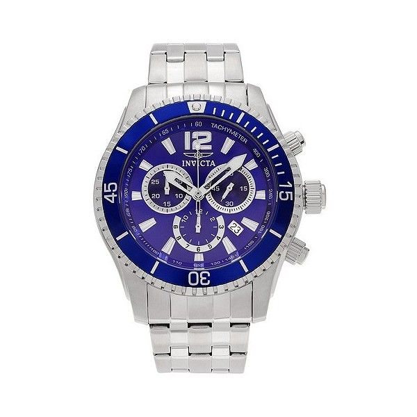 Men's Invicta  Stainless Steel Chronograph Dial Link Bracelet Watch ($130) ❤ liked on Polyvore featuring men's fashion, men's jewelry, men's watches, blue, invicta mens watches, mens chronograph watch, mens watches jewelry and stainless steel mens watches