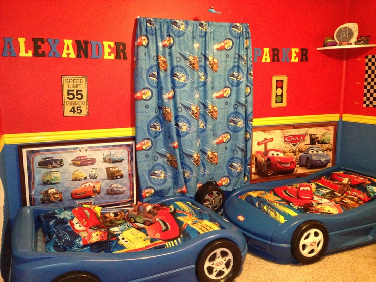 Little boys disney cars room a little over the top but for Disney cars bedroom ideas