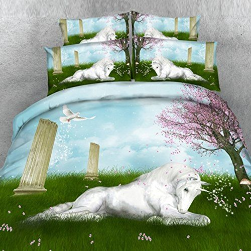 Alicemall 3D Horse Bedding Comforter Set White Horse and Grassland Scenery 5 Pieces Comforter Set Digital Bedding Set Queen Size 2 Pillowcases Flat Sheet Comforter Duvet Cover Queen Green * Learn more by visiting the image link.
