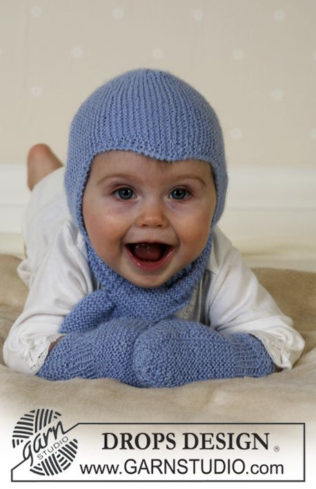 Baby Aviator Hat - Hat, scarf and mittens in Alpaca - Free pattern by DROPS Design
