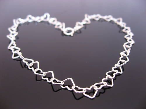 SUMMER SALE. Sterling Silver Hearts Anklet. 8.5 inches, 9.5 inches, 10.5 inches, 11.5 inches and 12.5 inches, bridal j...