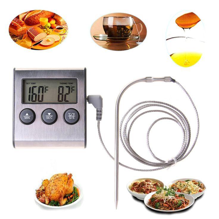 Nuovo Design Digital Display Lcd Sonda Termometro Dell'alimento Timer Meter di Alta Qualità Strumenti Bakeware Cucina BARBECUE a base di Carne di Cottura