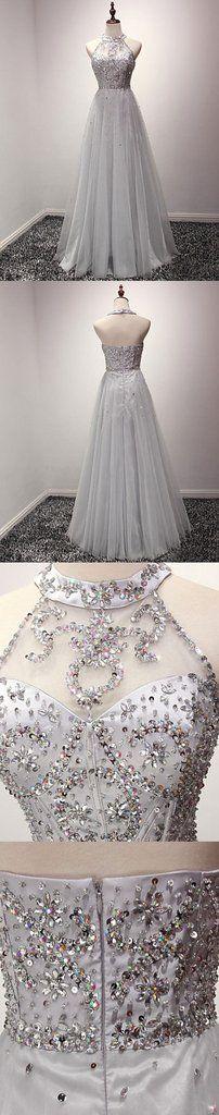 A-line Halter Sequins Tulle Floor Length Prom Dresses Evening Dresses