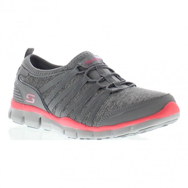 """Skechers Gratis Shake It Off-""""flex, Air Cooled, memory foam"""" soft heather jersey knit fabric, synthetic upper, easy slip on bungee stretch laced front panel, sporty casual, *Air Cooled Memory Foam, flexible lightweight shock absorbing insole, stitching accents, flexible rubber traction outsole, shiny patent edgy trim, pink reflective accent strip, side S logo, fabric side stripe overlays, textured synthetic heel detail, 3/4"""" built in heel, color grey/pink, Skechers outlet (w/socks 7)"""
