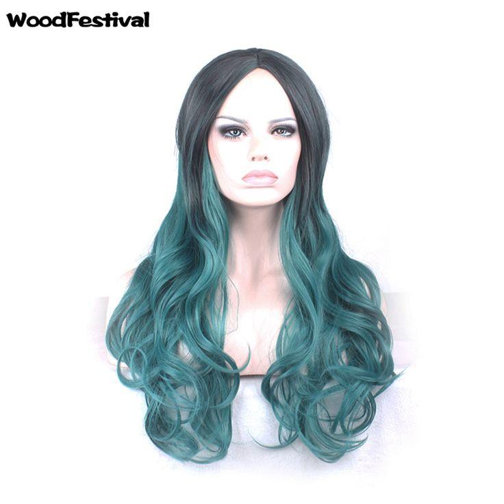 heat resistant synthetic hair wigs ombre gradient black green wig purple long wavy wig 65 cm womens wigs lolita WoodFestival
