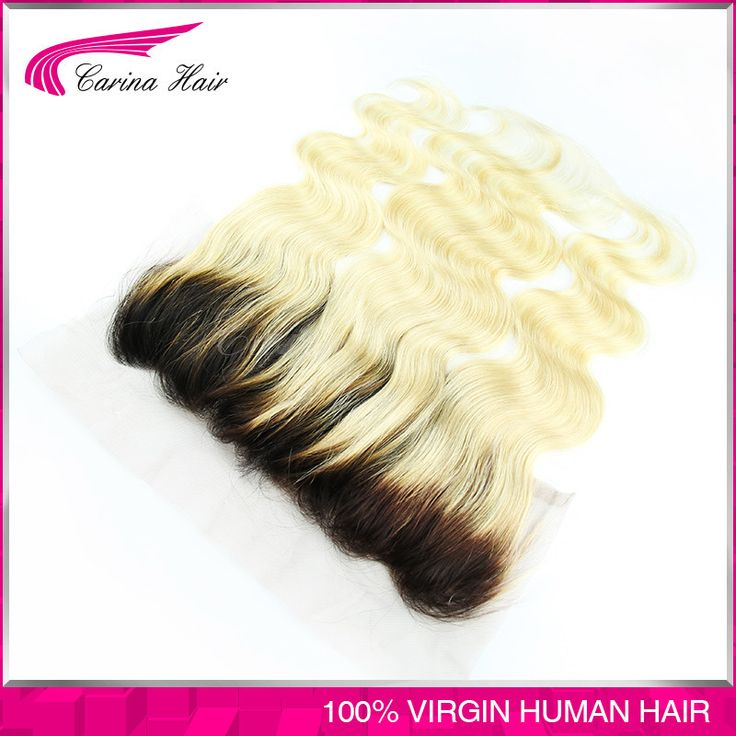 2016 unprocessed virgin13x4 ombre T 1b 613 lace frontal closure swiss lace body wave dark root blonde hair closure Free Shipping