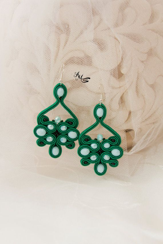 Green Bohemian Earrings Elegant Large Evening Crystal Earrings Soutache Handmade Jewelry Beaded Embroidered Casual Earrings Gift for Her Soutache earrings is made with soutache embroidery technique.  Earrings: Total length: 7.5cm / 2.95 Total width: 4 cm / 1.57  The back is covered with leather.  Earrings is finished, light and comfortable to wear,the owner will be able to enjoy its beauty for a long time after purchase.  The item will be shipped in a nicely wrapped gift box.  Thank you for…