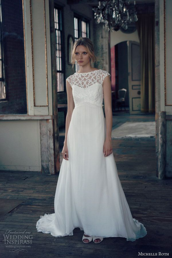michelle roth bridal 2014 ruby cap sleeve wedding dress