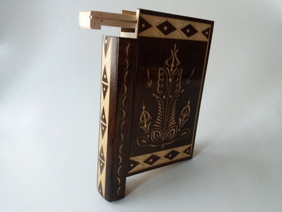 Big huge brown magic misterious wizard puzzle book box with secret compartment inside surprise handmade wooden hidden jewelry storage box