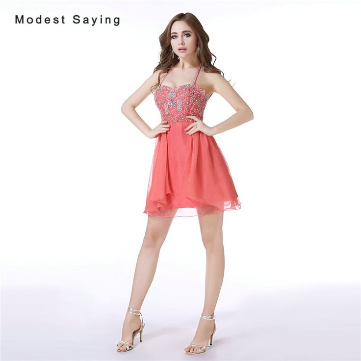 Find More Cocktail Dresses Information about Luxury Watermelon Sexy Backless A Line Halter Short Cocktail Dresses 2017 with Rhinestone Party Prom Gowns vestidos de coctel,High Quality short cocktail dress,China cocktail dresses Suppliers, Cheap short cocktails from modest saying Lacebridal Store on Aliexpress.com