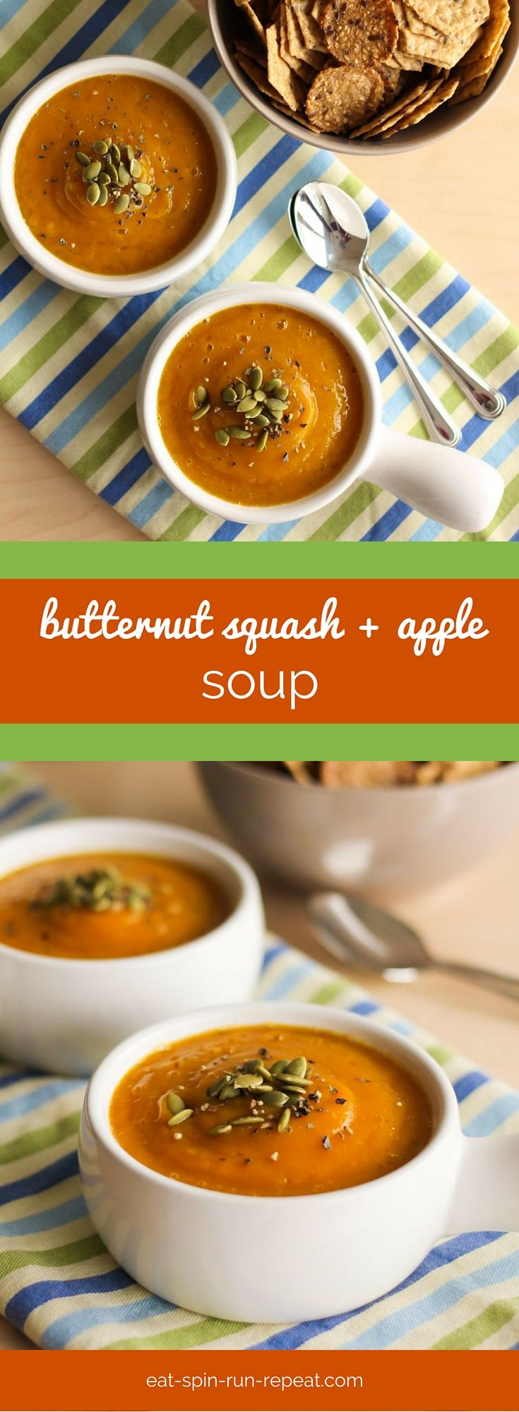 "Velvet Butternut Squash and Apple Soup - This soup is the answer to ""what's for lunch"" on a cold day. Simple whole food ingredients, totally delish."