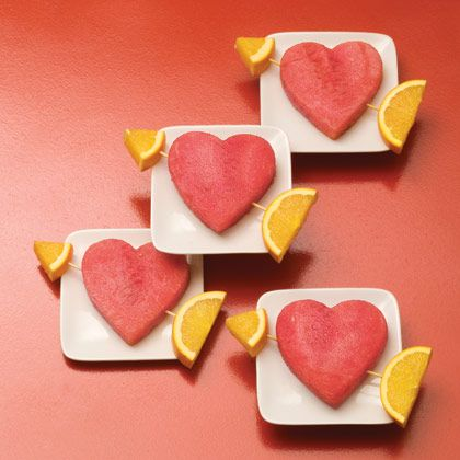 Healthy Hearts:  Move over, Cupid. These edible valentines will win the heart of everyone in the family. They're also sure to be a hit as a classroom snack. #food #snacks #kidsValentine'S Day, Healthy Heart, Ideas, Valentine Treats, Valentine Day, Food, Valentine Parties, Watermelon, Healthy Treats